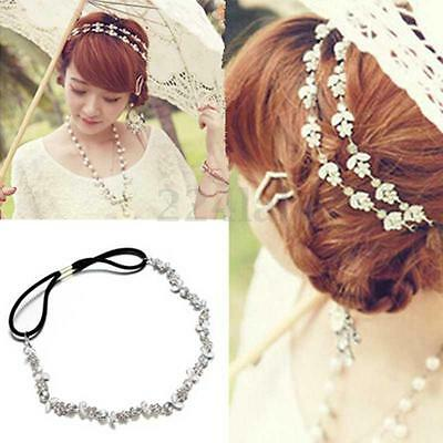 Women Fashion Elastic Metal Rhinestone Crystal Headband Head Chain Hair Band  ST