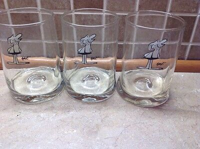 """Vintage 1981 Arby's B.c. Comic Glasses. """"ice Age Collector Series"""", Set Of 3"""