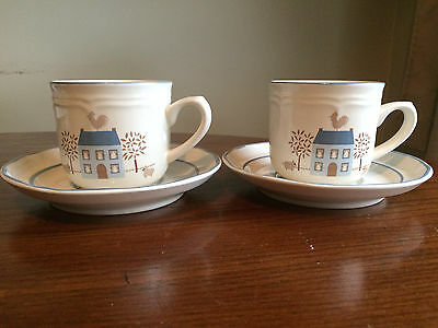 2 Cup's and Saucers International Stoneware Japan House Design