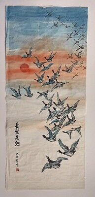A Vintage Signed Chinese Watercolor Scroll Painting Of Geese