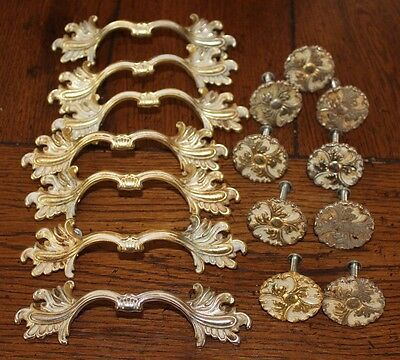 Vintage Lot of 16 Ajax USA White & Gold Tone Mid Century Drawer Knobs and Pulls