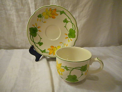 Flat Cup & Saucer Villeroy & Boch China, Germany, Geranium Pattern Non-Ribbed