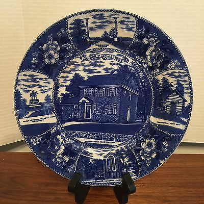 """1930s Flow Blue Souvenir Plate """"Valley Forge, PA"""", Jonroth By Ridgways?Excellent"""