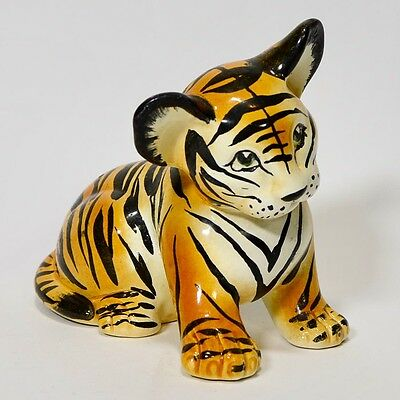 Vintage Italian Ceramic Tiger Cub Statue Animal Figurine Made in Italy