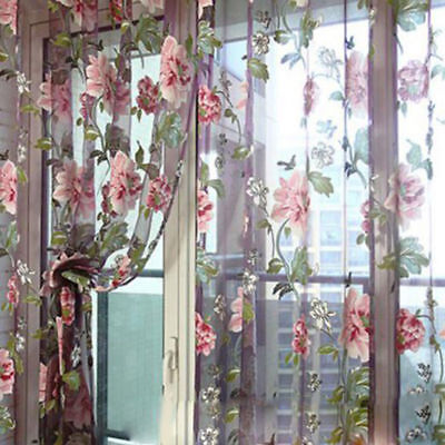 Romantic Floral Tulle Voile Door Window Curtain Drape Panel Sheer Scarf Valance.