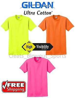 Gildan Safety Short Sleeve T-Shirt Blank Cotton Tee HIGH VISIBILITY ANSI T 2000