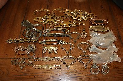 Vintage Lot of 33 Ornate Brass and Metal Drawer Pulls/NOS/Chippendale