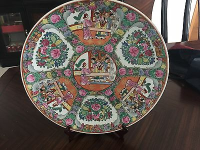 Large Antique Chinese Hand Painted Porcelain Decorative Plates