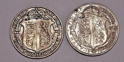 Lot of 2 UK Half Crown Coins: 1916 and 1926: King George V