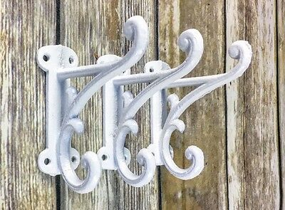 3 white wall hooks, rustic cast iron, coat hook, hat hook, antique hardware