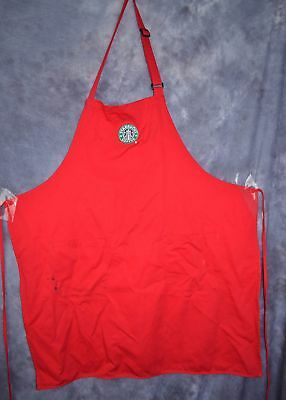 STARBUCKS COFFEE BARISTA APRON RED Store Used Official old Logo Pockets