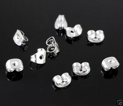 100 x Stainless Steel Butterfly Earring Backs, Findings, Studs, 50 pair, 7mmx4mm