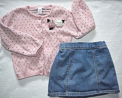 Janie and Jack button up Sweater Lamb Camel Cashmere blend 4T  Old Navy Skirt 5T