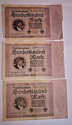 Lot of 3 Large Size 1923 100,000 Marks German Inflationary Banknotes