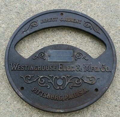 "9"" 1891 direct current meter Plate Westinghouse Electric company Pitt, PA USA"