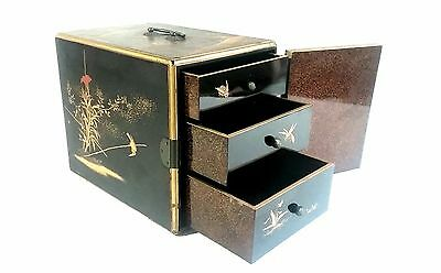 Antique Japanese Gold Lacquer Kodansu Chest Incense Box Jewelry Drawers Hinged