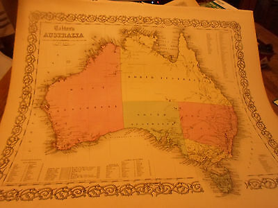 1855 Colton's Map Of Australia -Big! Hand-Colored! - By Johnson & Browning Nice!