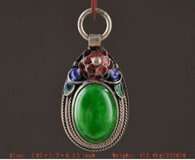 Noble jade green silver Cloisonne pendant pendant vintage antique collection