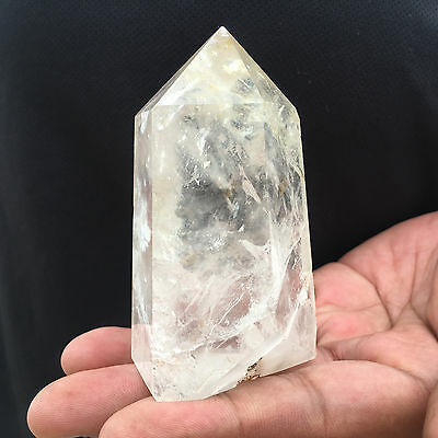 210g Natural Clear White Obelisk Quartz Crystal point Healing A348