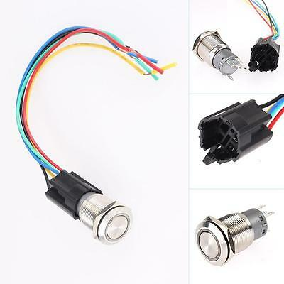 19mm 12V Car Blue LED Angel Eye Metal Push Button Toggle Switch ON/OFF Socket TN