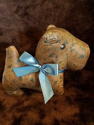 Antique Vtg 1940's Stuffed Oilcloth Toy Dog  ~ SCOTTY DOG momma made