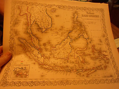 1855 Colton's Map Of The East Indies - Hand-Colored! By Johnson & Browning Nice!
