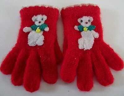 Vintage 1950s Red Knit Baby Gloves Infant Child Clothing Accessories