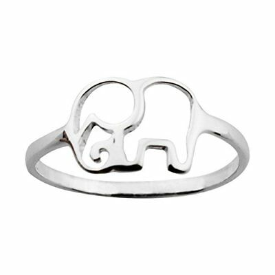 ELBLUVF 925 Sterling Silver Elephant Animal Lucky Ring Jewelry Bridesmaid Gif...
