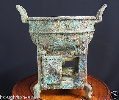 Ancient Chinese Ritual Bronze Incense Burner/Censer with Doors. Shang Dynasty!