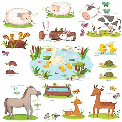 Decowall DW-1403 Field of Animals Peel and Stick Nursery Kids Wall Decals Sti...