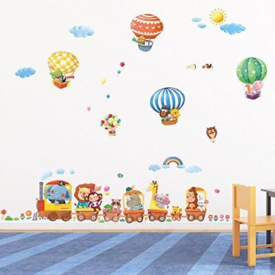 Decowall DA-1406 Animal Train & Hot Air Balloons Peel and Stick Nursery K...