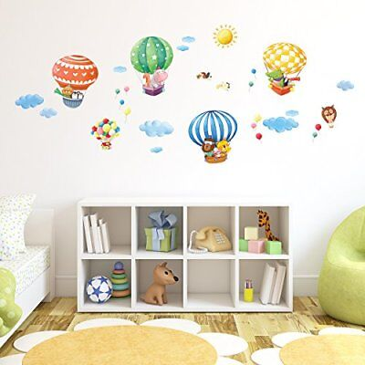 Decowall DM-1406B Animal Hot Air Balloons peel & stick Nursery wall decal...