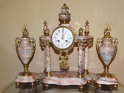 BEAUTIFUL FRENCH EMPIRE MARBLE MANTEL CLOCK SET cca 1900 with two VASES