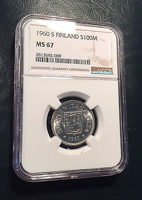 Finland Silver 1960 S 100 Markkaa NGC MS67 Top Pop KEY DATE Low Mintage-290,000