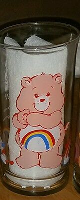 Vintage 1983 Cheer Bear Pizza Hut Glass Care Bears Tumbler
