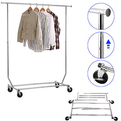 Heavy Duty Clothing Garment Collapsible Salesman Rolling Rack Hanger, Chrome