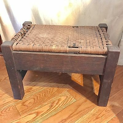 Antique Mission Oak Arts & Crafts Foot Stool Stickley period Original Finish