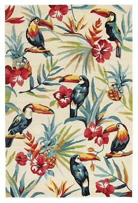 NEW Toucan Tropical Indoor Outdoor Rug Cream