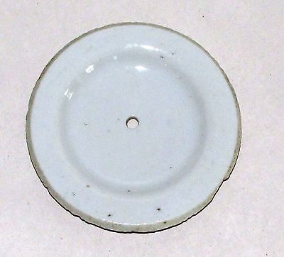 """Antique Chinese Qing White Glaze Pottery Teapot Lid 2.75"""" d."""