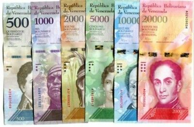 Venezuela Banknotes 2016 2017  Unc Full Set Of 6, 500 1000 2000 20000 Bolivares