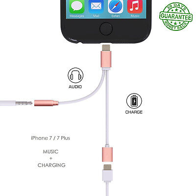 2 in 1 Lightning Charger Adapter 3.5mm Headphone Audio Jack Cable iPhone XS XR 7