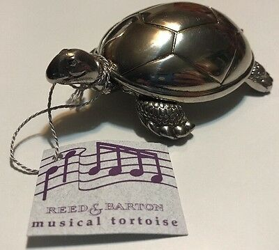 Reed & Barton Silver Tortoise Turtle Silver Music Box Baby Gift w/tag