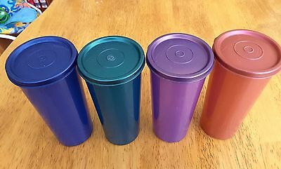Tupperware 16 Ounce Tumblers with Lids Lot of 4 EUC