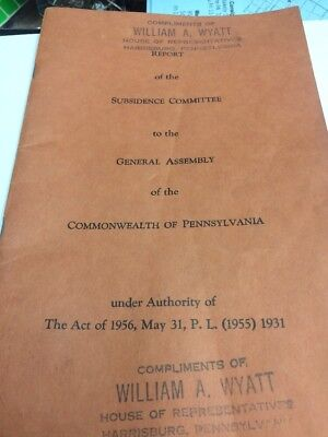 Report Of Subsidence Committee Of Pa Coal Mines 1956 Book