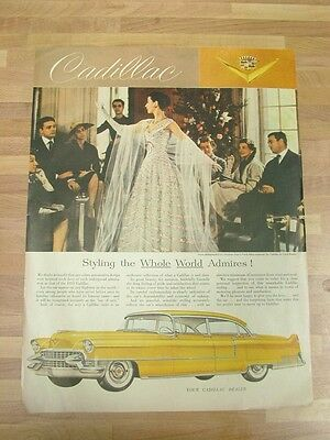 "Vintage 1955 Cadillac Automobile Car Photo Print Ad 10""x14"" Christian Dior"