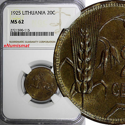 Lithuania Aluminum-Bronze 1925 20 Centu NGC MS62 1 YEAR TYPE KM# 74