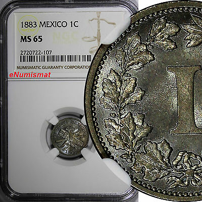 Mexico SECOND REPUBLIC Copper-nickel 1883 1 Centavo NGC MS65 KM 392