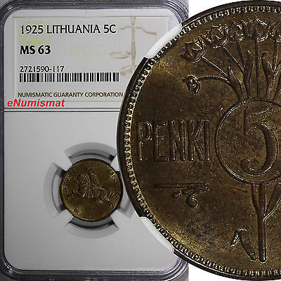 Lithuania Aluminum-Bronze 1925 5 Centai 1 YEAR TYPE NGC MS63 SCARCE KM# 72