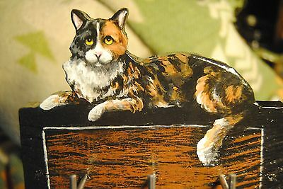 Original Painting~Maine Coon~CAT~Calico~Leash~Key~Jewelry~Hook~Hanger~Whimsical~