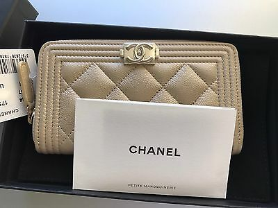 New 2017 CHANEL Boy Caviar Gold HW Zip Wallet Coin Purse Card Holder LIMITED!